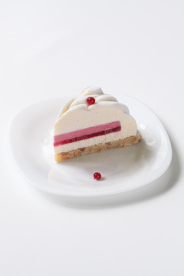 Contemporary Vanilla Red Currant Mousse Cake royalty free stock photo