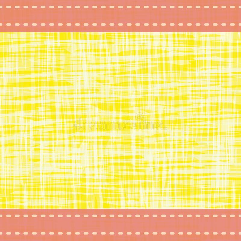 Contemporary vibrant border in with stitch lines and transparent water color effect. Vector seamless pattern on yellow. Background. Perfect for packaging vector illustration