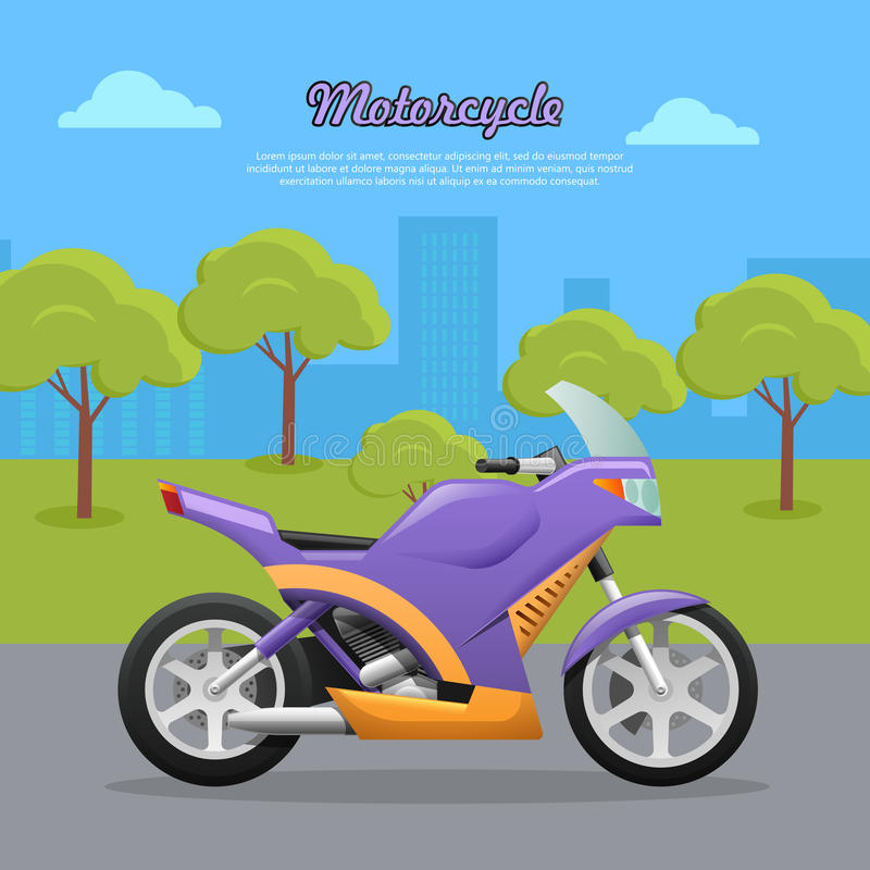 Contemporary Violet Motorcycle on Road in Big City. Motorcycle. Transport. Travelling. Contemporary violet motorcycle on road in big city. Two-wheeled vehicle vector illustration