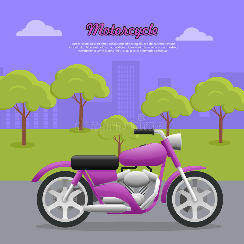 Contemporary Violet Motorcycle on Road in Big City. Motorcycle. Transport. Travelling. Contemporary violet motorcycle on road in big city. Two-wheeled vehicle royalty free illustration
