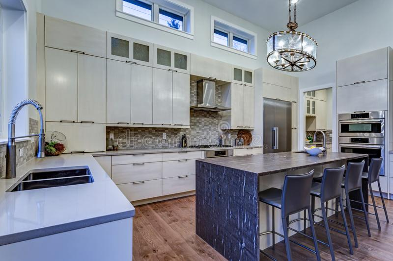 Contemporary white kitchen with high-end kitchen appliances. Contemporary white kitchen with Upscale kitchen appliances, custom built cabinets, kitchen Island stock images