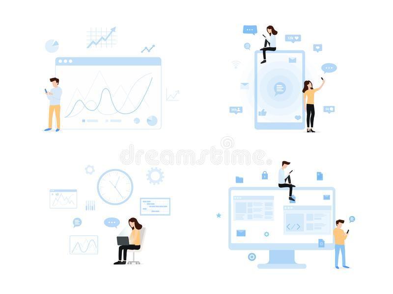 Contemporary world of information set stock illustration