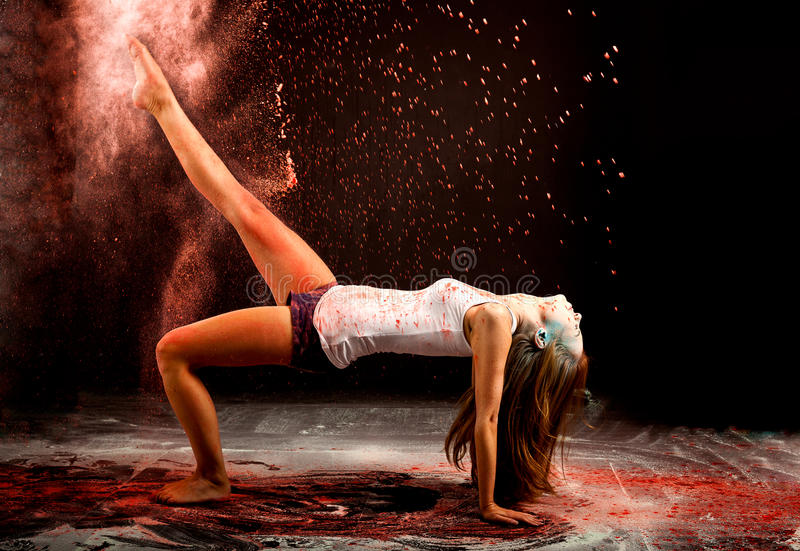Contemporary dance powder expression stock photos