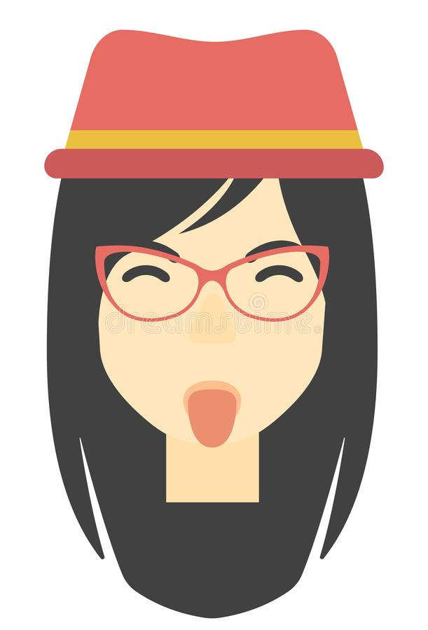 Contemptuous woman sticking out her tongue. stock illustration