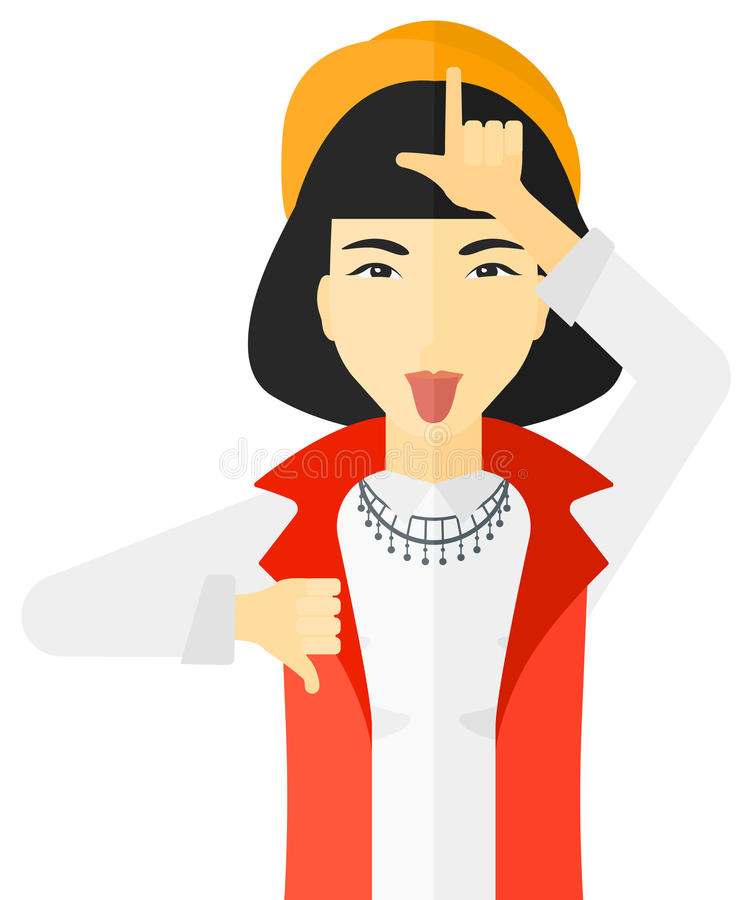 Contemptuous woman sticking out her tongue vector illustration