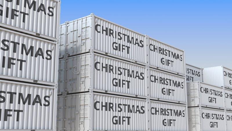 Contenants avec du texte CHRISTMAS GIFT dans un terminal à conteneurs, rendu 3D illustration stock
