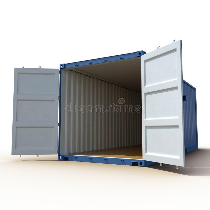 Contenedor azul vacío abierto de la carga aislado en blanco ilustración 3D ilustración del vector