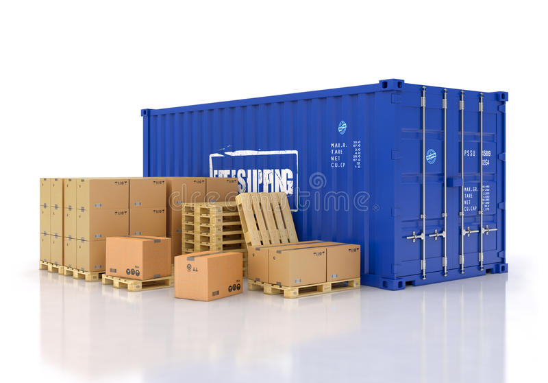 Contenedor con las cajas de cartón y los palletes foto de archivo