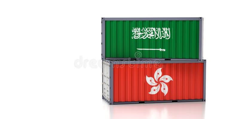 Contenedor de carga con bandera de Arabia Saudita y Hong Kong ilustración del vector
