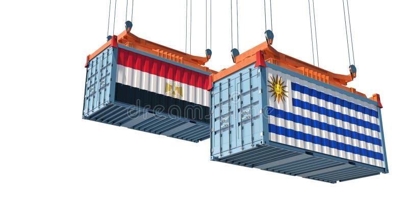 Contenedor de carga con bandera nacional de Egipto y Uruguay libre illustration