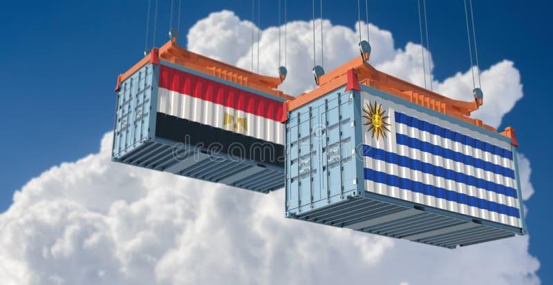 Contenedor de carga con bandera nacional de Egipto y Uruguay ilustración del vector
