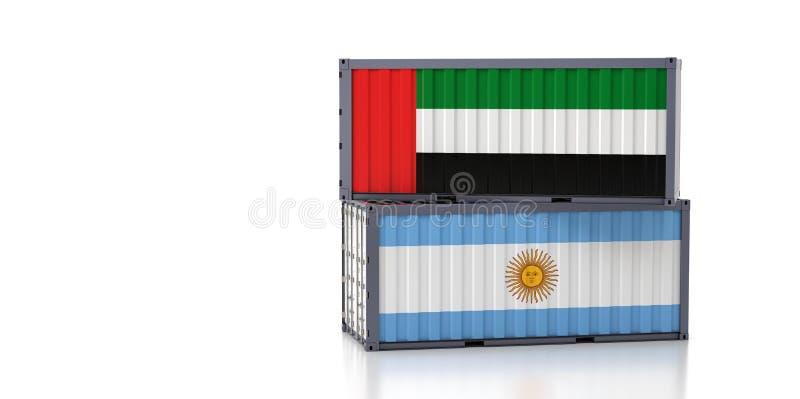 Contenedor de carga con bandera nacional de los Emiratos Árabes Unidos y la Argentina stock de ilustración