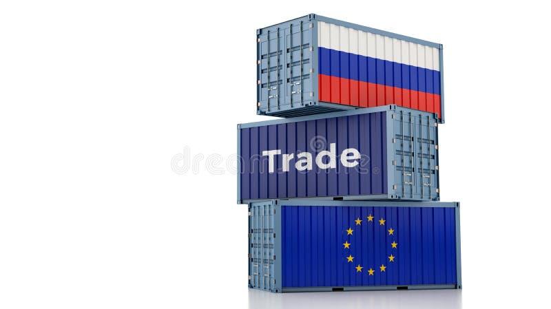 Contenedor de carga con bandera de Rusia y de la Unión Europea ilustración del vector
