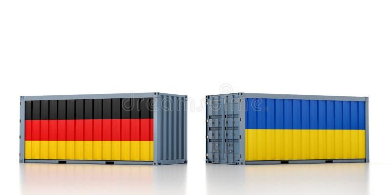 Contenedor de carga con pabellón nacional alemán y ucraniano libre illustration