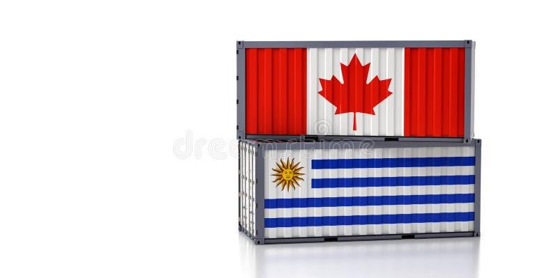 Contenedor de carga con pabellón nacional del Canadá y el Uruguay ilustración del vector