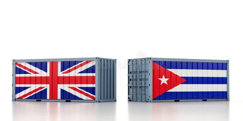 Contenedor de carga con pabellón nacional del Reino Unido y Cuba ilustración del vector