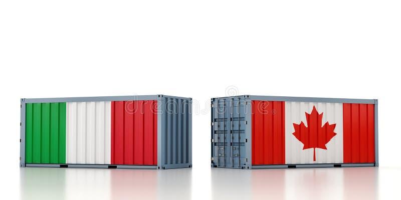 Contenedor de carga con pabellón nacional de Italia y Canadá stock de ilustración