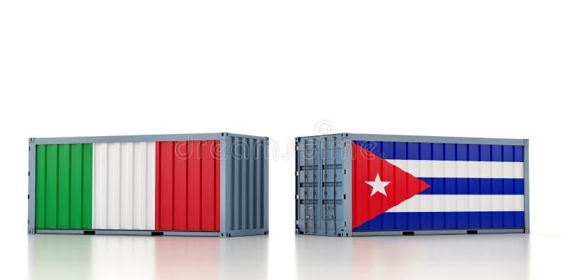 Contenedor de carga con pabellón nacional de Italia y Cuba stock de ilustración