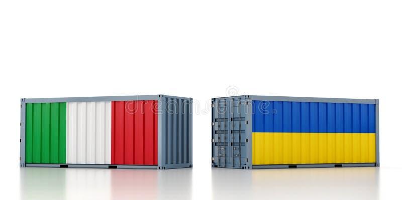 Contenedor de carga con pabellón nacional de Italia y Ucrania stock de ilustración