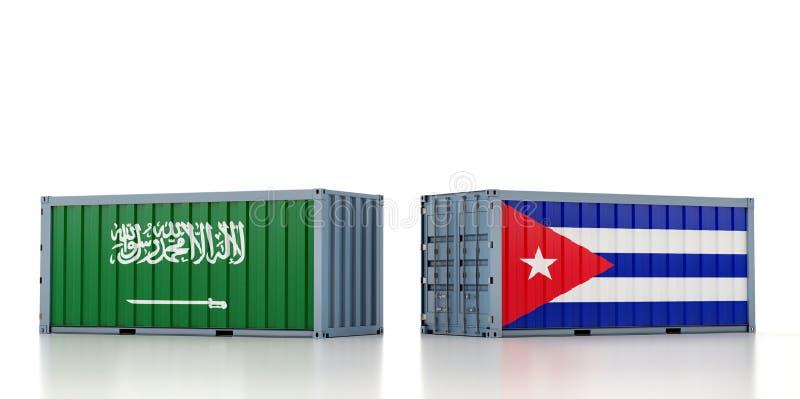 Contenedor de carga con pabellón nacional de la Arabia Saudita y Cuba libre illustration