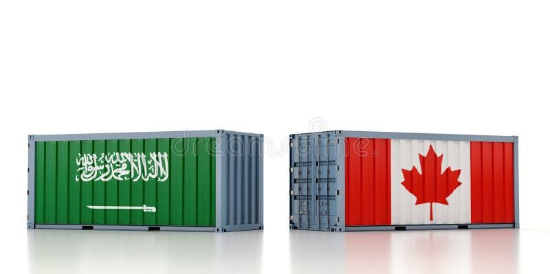 Contenedor de carga con pabellón nacional de la Arabia Saudita y el Canadá stock de ilustración