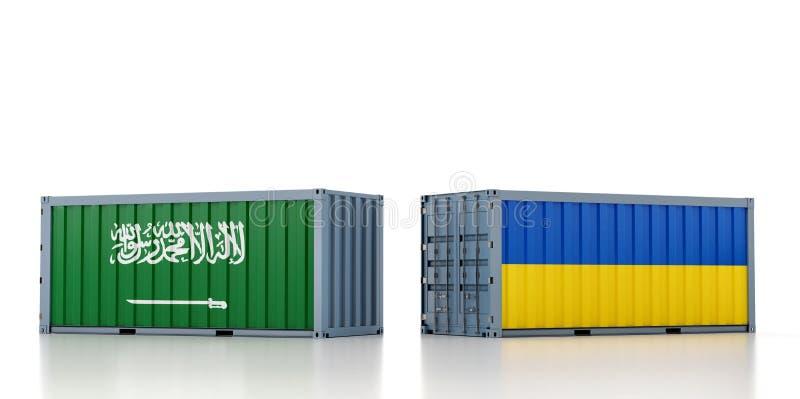 Contenedor de carga con pabellón nacional de la Arabia Saudita y Ucrania libre illustration