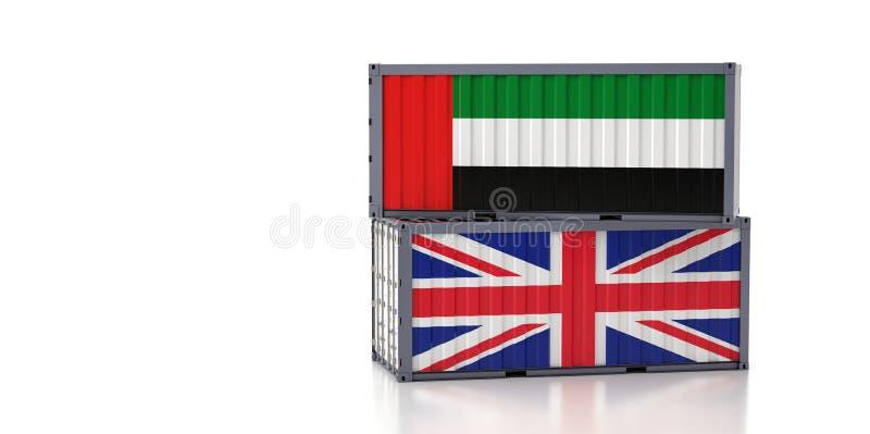 Contenedor de carga con pabellón nacional de los Emiratos Árabes Unidos y el Reino Unido ilustración del vector