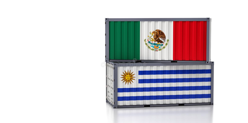 Contenedor de carga con pabellón nacional de México y Uruguay libre illustration
