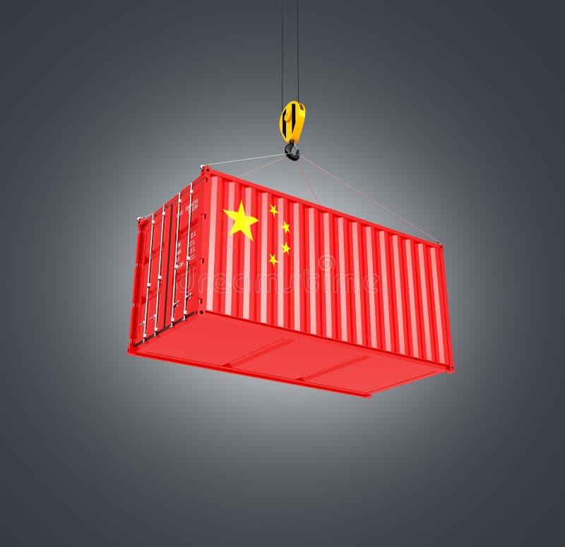 Contenedor de cargo con el oncept chino del ¡de la bandera Ð de la entrega de China en el fondo negro 3d de la pendiente stock de ilustración