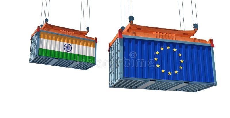 Contenedor de mercancías con pabellón de la India y la Unión Europea libre illustration