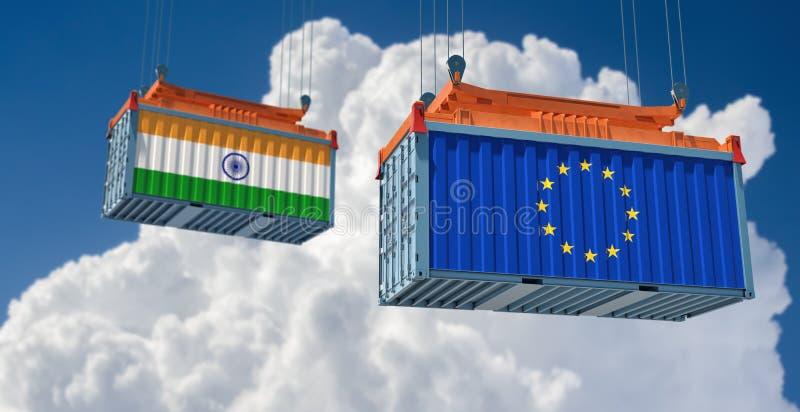 Contenedor de mercancías con pabellón de la India y la Unión Europea ilustración del vector