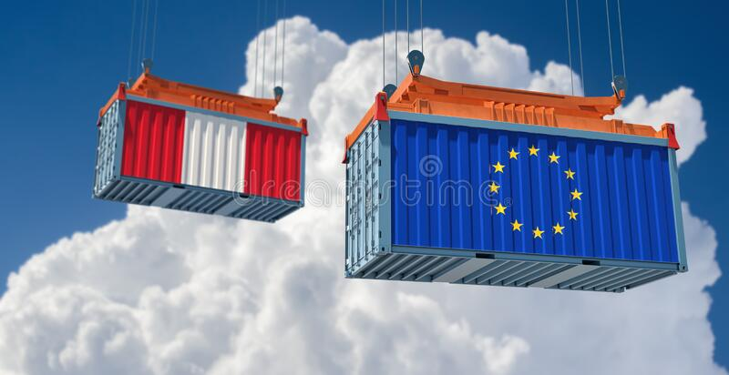 Contenedor de mercancías con pabellón de la Unión Europea y Perú ilustración del vector