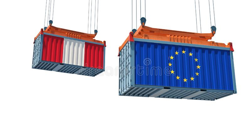 Contenedor de mercancías con pabellón de la Unión Europea y Perú Representación 3D libre illustration