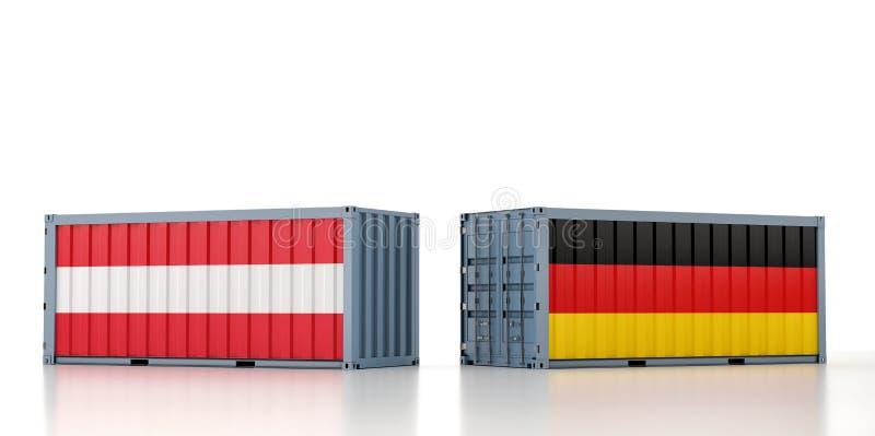 Contenedor de mercancías con pabellón nacional alemán y austríaco ilustración del vector