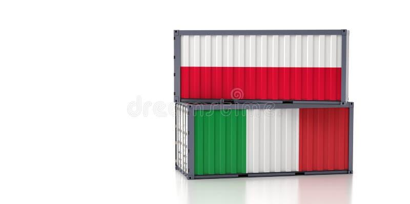 Contenedor de mercancías con pabellón nacional de Italia y Polonia stock de ilustración