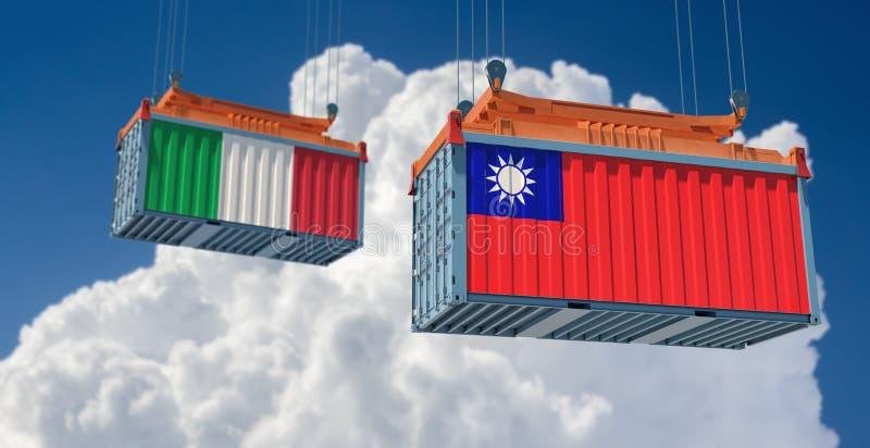 Contenedor de mercancías con pabellón nacional de Italia y Taiwán libre illustration