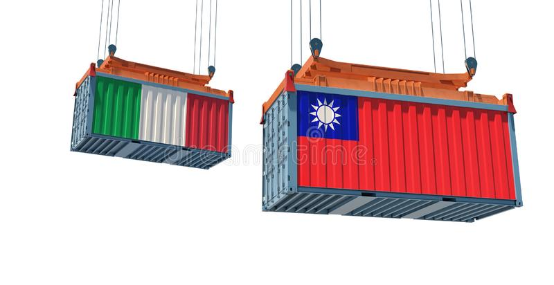 Contenedor de mercancías con pabellón nacional de Italia y Taiwán stock de ilustración
