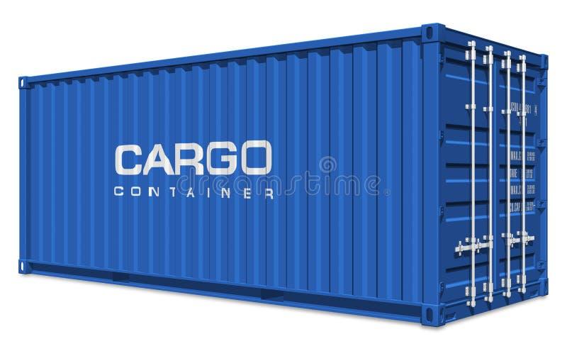 Contenedor para mercancías azul stock de ilustración