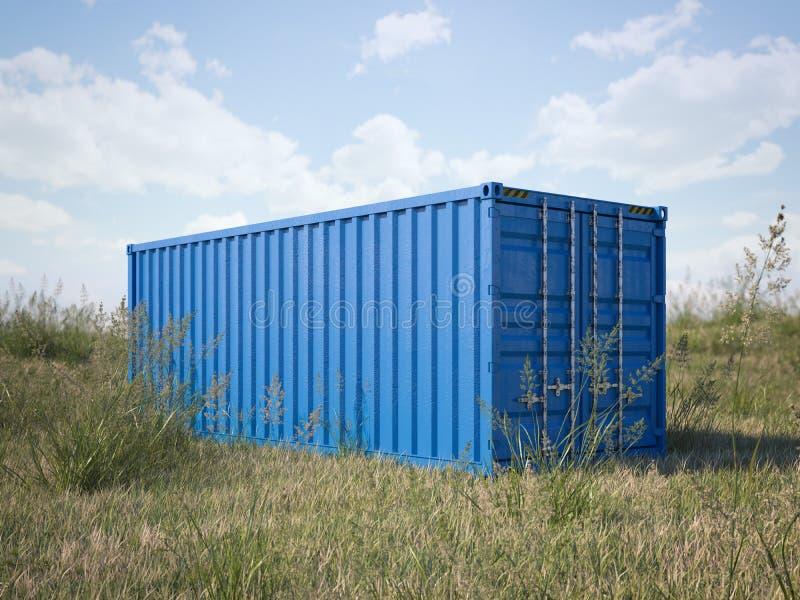 Contenedor para mercancías azul en un campo representación 3d imagenes de archivo