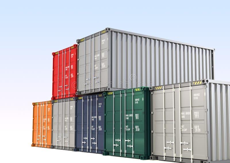 Contenedor para mercancías colorido stock de ilustración
