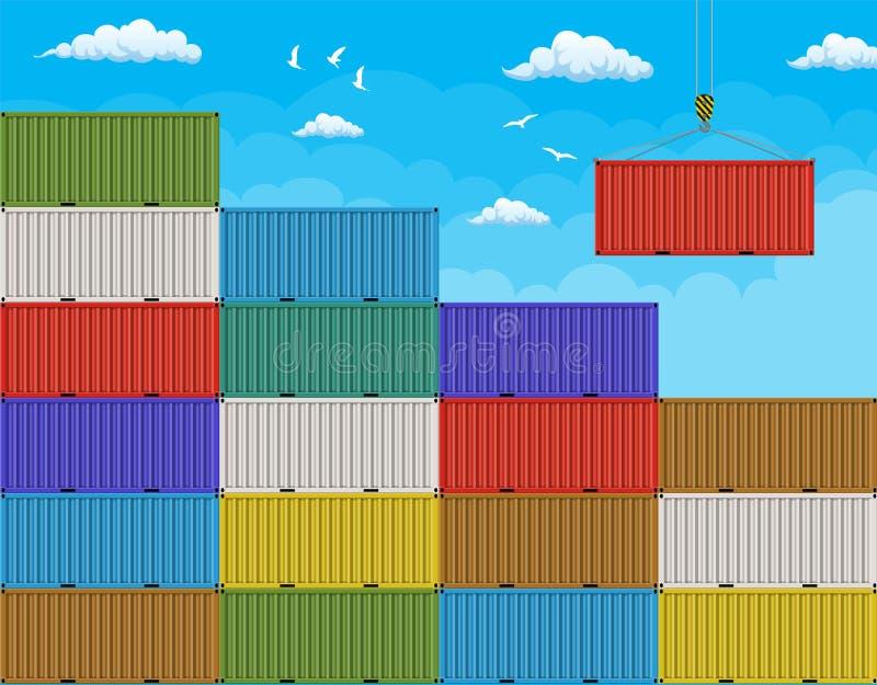 Contenedor para mercancías de elevación de la grúa de la pila grande ilustración del vector