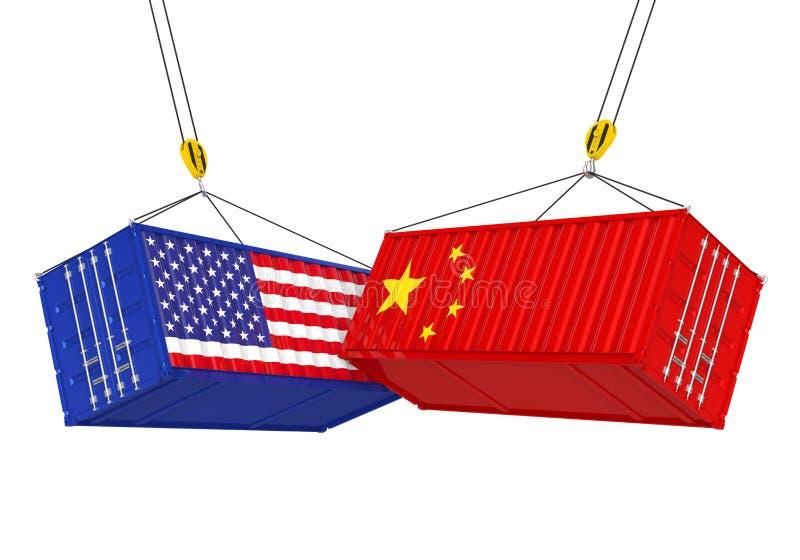 Contenedor para mercancías de Estados Unidos y de China aislado Concepto de la guerra comercial libre illustration