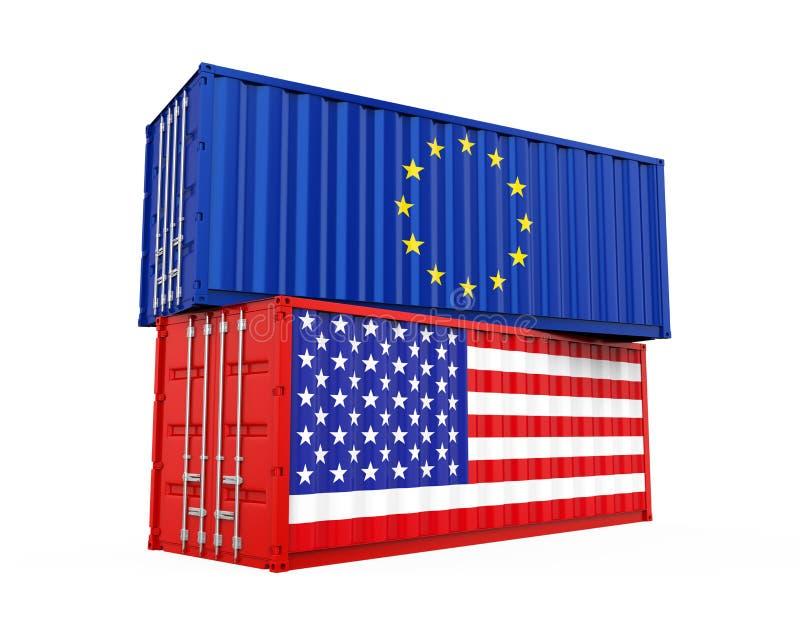 Contenedor para mercancías de Estados Unidos y de la unión europea aislado Concepto de la guerra comercial libre illustration