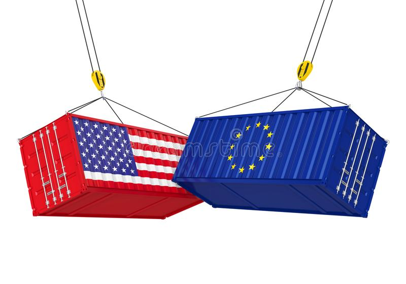 Contenedor para mercancías de Estados Unidos y de la unión europea aislado Concepto de la guerra comercial ilustración del vector