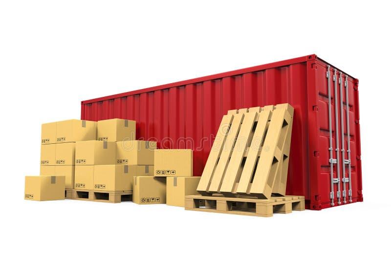 Contenedor para mercancías y cajas de cartón ilustración del vector