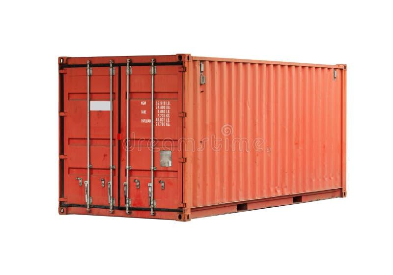 Contenedor rojo de la carga del metal aislado fotografía de archivo