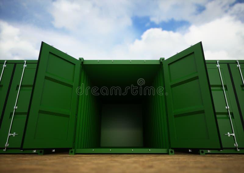 Contenedores para mercancías abiertos del verde foto de archivo