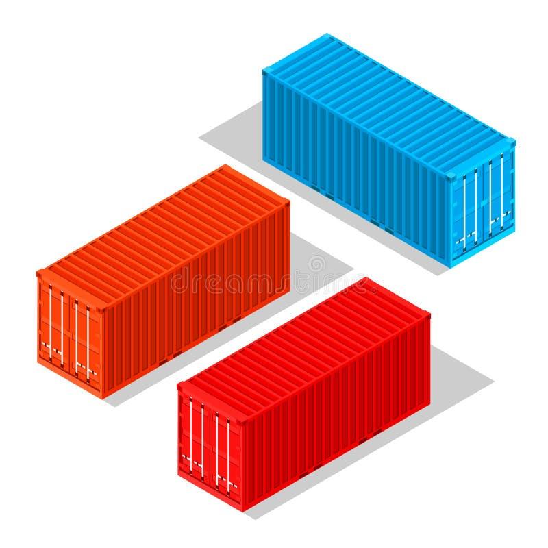 Contenedores para mercancías aislados en el fondo blanco Ejemplo isométrico Ilustración del vector libre illustration