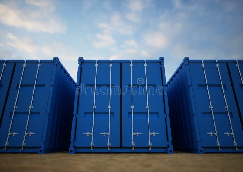 Contenedores para mercancías azules fotografía de archivo