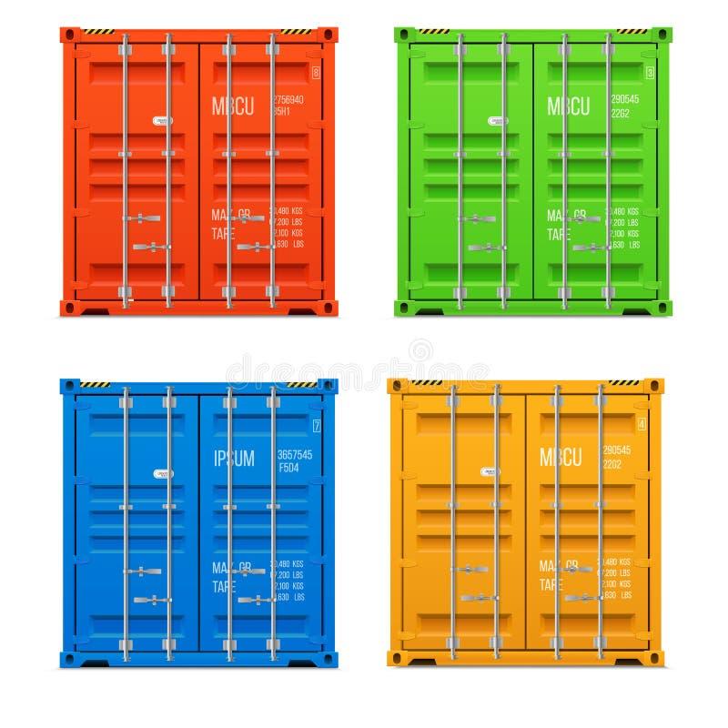 Contenedores para mercancías cerrados realistas stock de ilustración